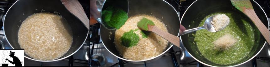 Bagnate con il brodo, aggiungendone a mano a mano che il riso lo assorbe, e portate a cottura mescolando continaumente e senza lasciare che il composto si asciughi troppo.