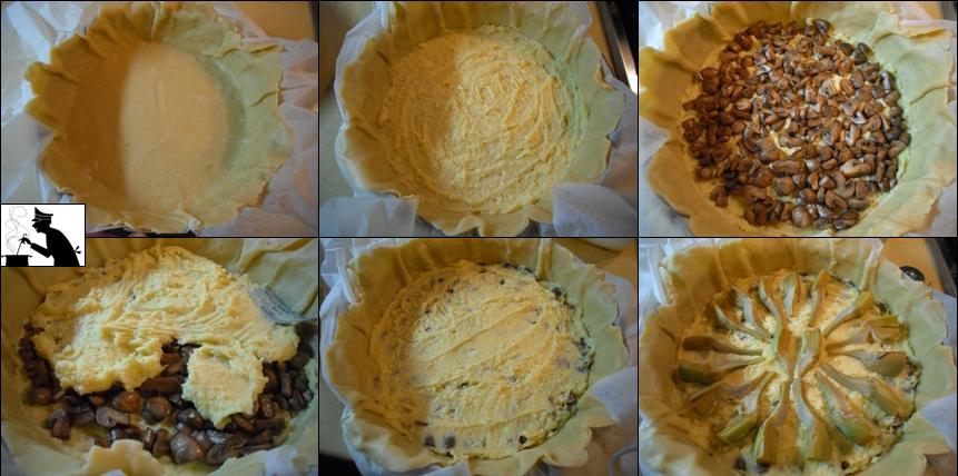 Torta salata Carciofi, patate e champignon3