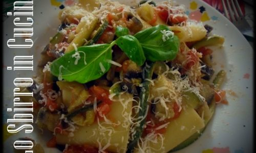 Pasta con zucchine e melanzane