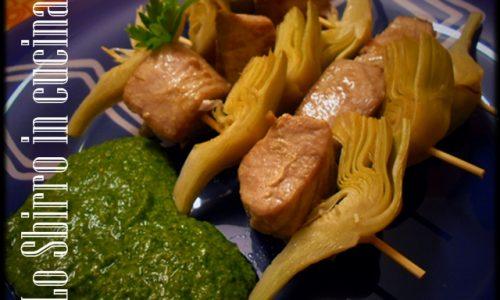 Spiedini di Tonno e Carciofi in salsa verde