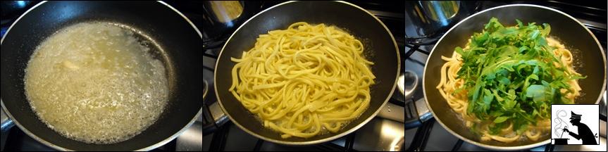 Pasta e cozze con rucola