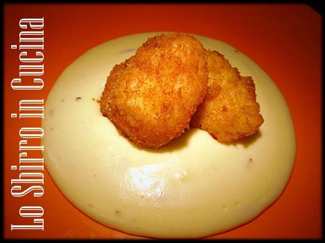 Bocconcini di rana Pescatrice croccanti con crema di patate